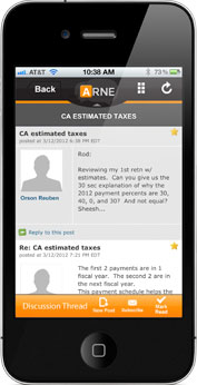 Screenshot of ARNE Mobile App on iPhone