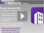 See our asset management software – click to play our Fixed Assets CS video demo