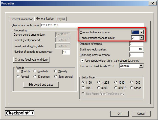 Screenshot: CSA Client Properties - General Ledger tab