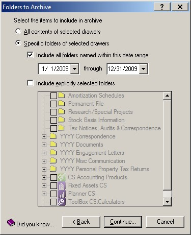 Screenshot: FileCabinet CS Folders to Archive