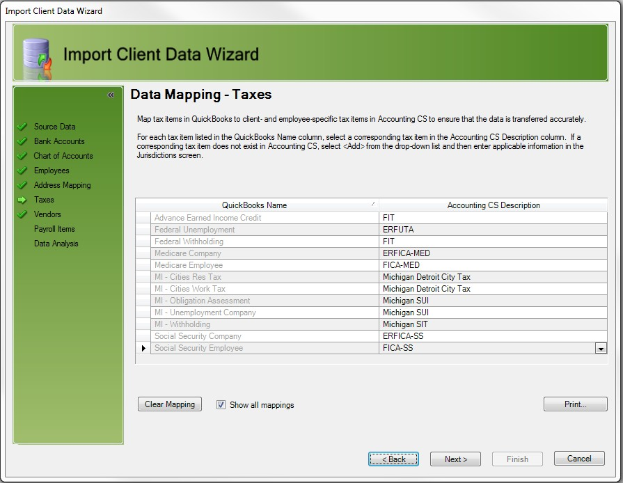 Importing client data from QuickBooks