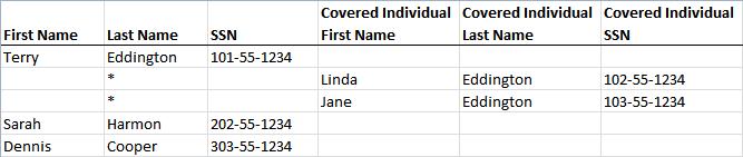 Spreadsheet import - Form 1095-C