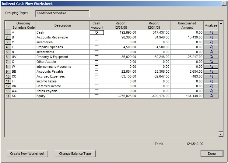 Printables Cash Flow Worksheet cash flow worksheet fields and buttons in the indirect dialog