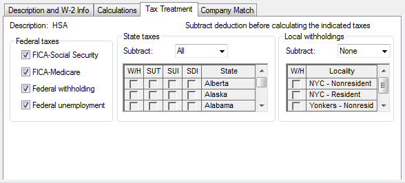How to Setup a Health Savings Account Deduction Item with