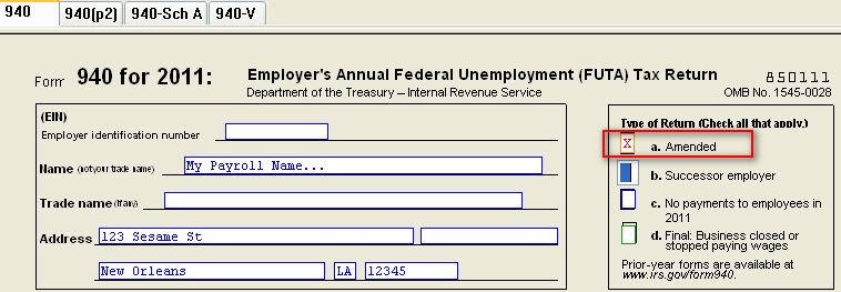 CSA: Creating an Amended 940 Form