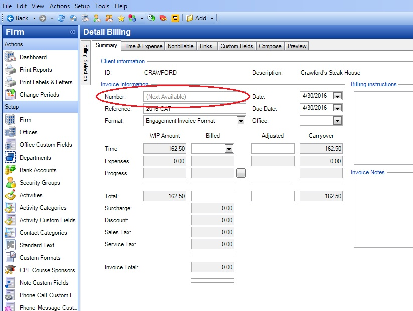 practice cs  how to change an invoice number