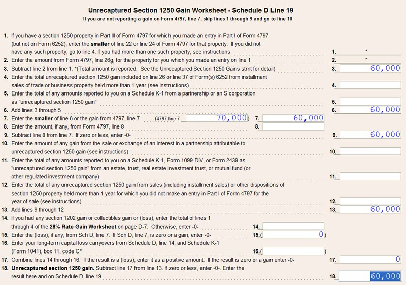 1040 US Calculating unrecaptured Section 1250 gain at 25 – Schedule D Tax Worksheet