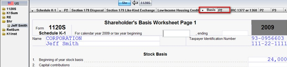 1120S US Entering shareholder basis and the Shareholders Basis – Shareholder Basis Worksheet