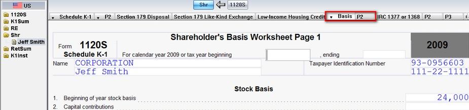 1120S US Entering shareholder basis and the Shareholders Basis – Like Kind Exchange Worksheet
