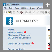 The home page of our professional tax software, UltraTax CS - click for more detail