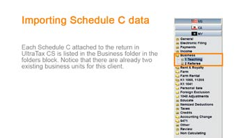 Importing Schedule C Data from Trial Balance CS into UltraTax CS video screenshot